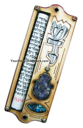 MEZUZAH WITH HAMSA PROTECTION HAND