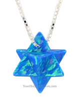 Blue Opal Kabbalah Merkaba Necklace