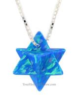 Blue Opal Kabbalah Merkaba Necklace