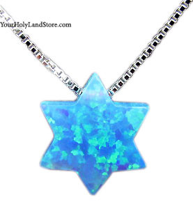Blue Opal Jewish Star of David Necklace