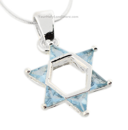 Jewish Star of Magen David Necklace with Crystals