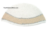 BIG KIPPAH WITH SILVER AND WHITE STRIPE