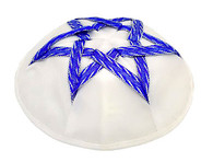 Blue and White Satin Kippah