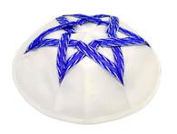 Blue and White Satin Kippah