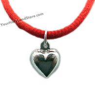 KABBALAH RED STRING BRACELET WITH SILVER HEART PENDANT