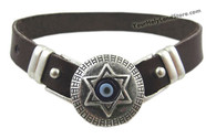 EVIL EYE PROTECTION LEATHER BRACELET WITH STAR OF DAVID