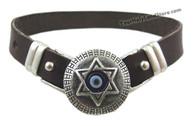 EVIL EYE PROTECTION LEATHER BRACELET WITH STAR OF DAVID