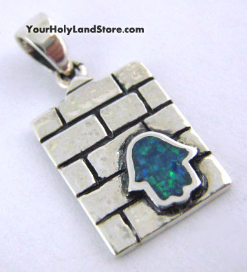 JERUSALEM WESTERN WALL PENDANT WITH HAMSA PROTECTION HAND