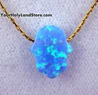 Blue Opal HAMSA LUCK HAND GOLD FILLED NECKLACE