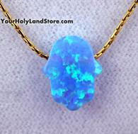 Blue Opal HAMSA LUCK HAND GOLD FILLED NECKLACE