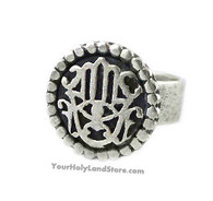 Silver Hamsa Protection from Evil Eye Ring