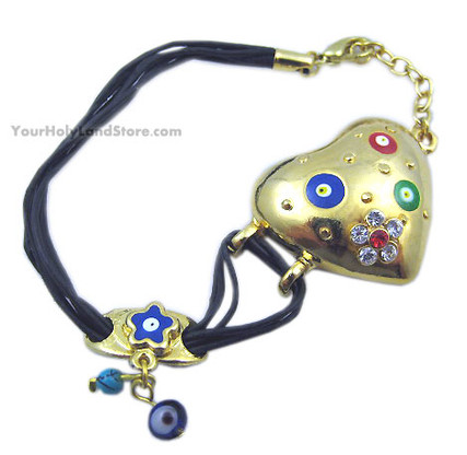 EVIL EYE PROTECTION HEART AND FLOWER BRACELET