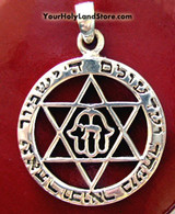 PROTECTION PENDANT WITH CHAI, STAR OF DAVID AND HAMSA HAND