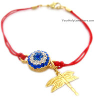 Kabbalah Red String Bracelet with Dragonfly Pendant