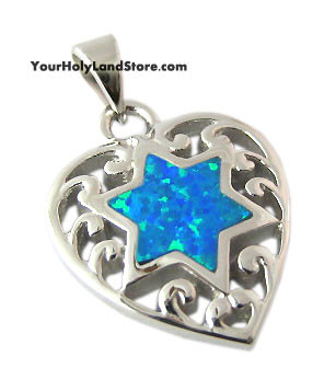 Jewish Star of Magen David in Heart Necklace
