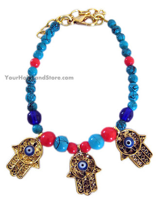 Evil Eye Protection Bracelet with 3 Hands of God