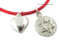 Kabbalah Red String Bracelet with David Star and Heart Pendants