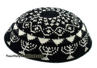 Hand Knitted Kippah with Menorahs