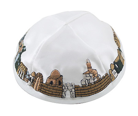 Kippah with Jerusalem Views of Western Wall and David Tower