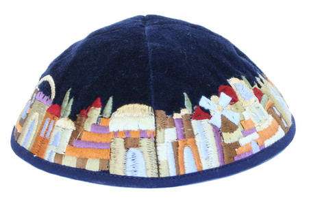 Kippah with Embroidered Jerusalem View
