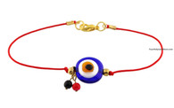 Kabbalah Red String Bracelet with Blue Glass Evil Eye