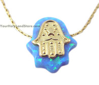 Gold Filled and Blue Opal Hamsa Protection Necklace