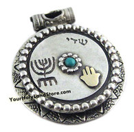 Antique Style Pendant with Gold Hamsa and Menorah