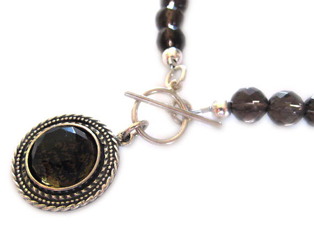 Shema Yisrael & A Woman of Valor Smoky Quartz Gemstone Necklace