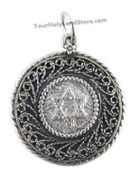 Silver Star of David Filigree Pendant with Protection Blessing