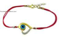 Kabbalah Red String Bracelet with Evil Eye and Zircon Stones