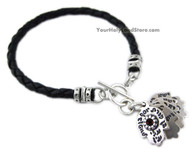 5 Hamsa Hands with Blessings Leather Bracelet