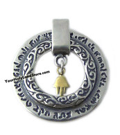 Kabbalah Pendant with Gold Hamsa Hand of Fatima