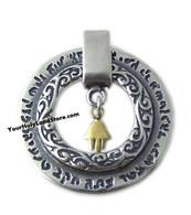 Kabbalah Pendant with Gold Hamsa Hand of Fatima