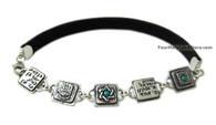 Leather Protection Bracelet with Hamsa and Shema Israel