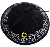 Jerusalem Colorful Leather Kippah