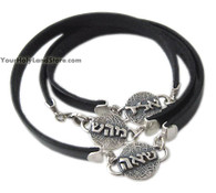 Unique Kabbalah Leather Bracelet with 3 Charms