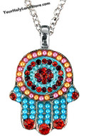 Hamsa Necklace with Crystals and Beads