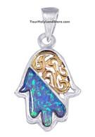 Silver, Gold and Opal Hamsa Pendant