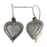 Sterling Silver and Ancient Roman Glass Heart Earrings