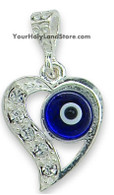 Silver Heart Pendant with Evil Eye and Swarovski Crystals