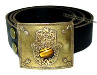 Handmade Leather Belt with Hamsa Buckle