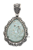 Silver and Ancient Roman Glass Teardrop Pendant