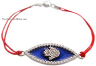 Kabbalah Red String Bracelet with Hamsa and CZ Stones