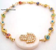 Evil Eye Bracelet with Hamsa and CZ Sparkling Crystals