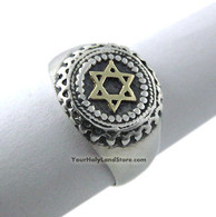 Sterling Silver Signet Ring with Golden Star of David