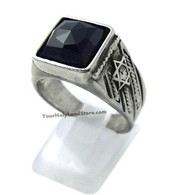 Sterling Silver Stars of David Ring with Onyx Stone