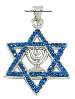 Silver and Crystals Star of David Pendant with Menorah