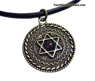 Star of David Necklace with Garnet Stone and Shema Yisrael
