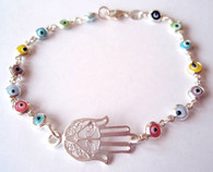 Silver Hamsa Hand Bracelet with Evil Eyes