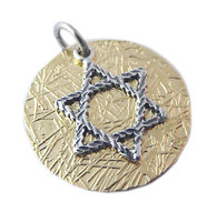 Gold Filled Pendant with Star of David & Blessing